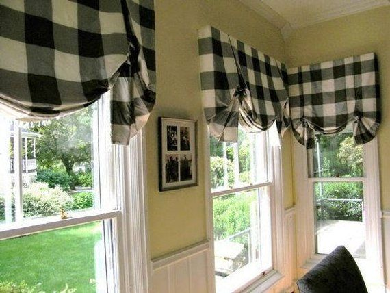 Burlap and Black Buffalo Check Farmhouse Valance French Country Decor Curtain Valance,Window Treatment,38 x 14