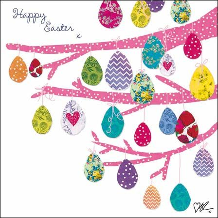#Easter eggs growing on a tree. Collage effect card finished with glitter varnish by @kirstiemallsopp