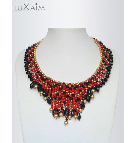 Black,Golden Beaded-Chain Crunchy Necklace