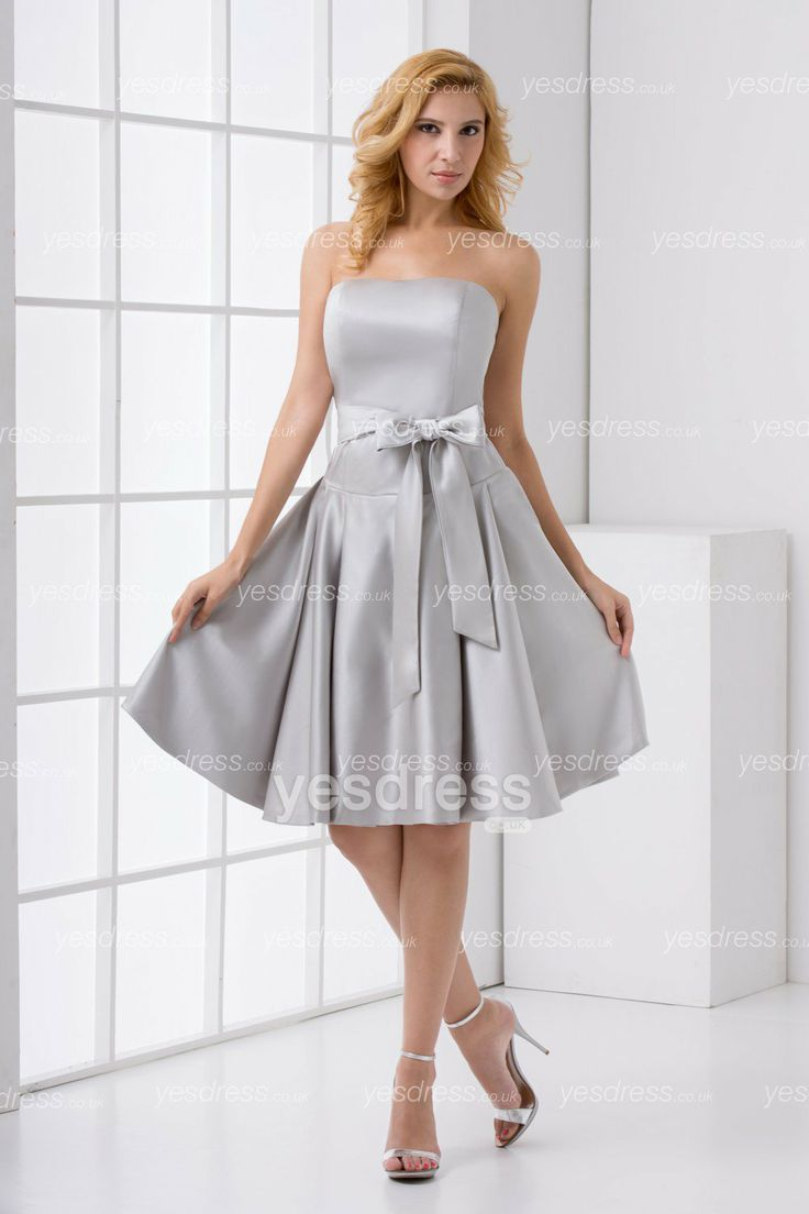 10 best beautiful bridesmaid dresses images on pinterest strapless satin knee length a line bridesmaid dress with bow sash ombrellifo Image collections