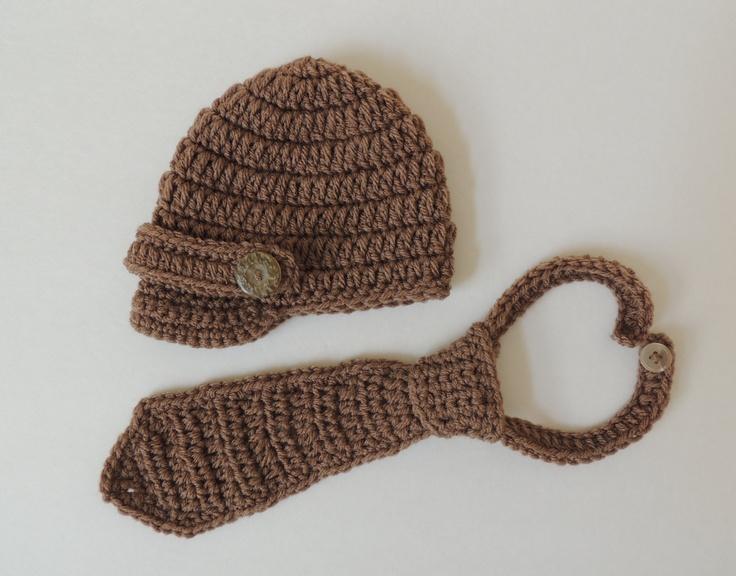 Crochet Newborn Hat, Crochet Newsboy Hat and Necktie ...