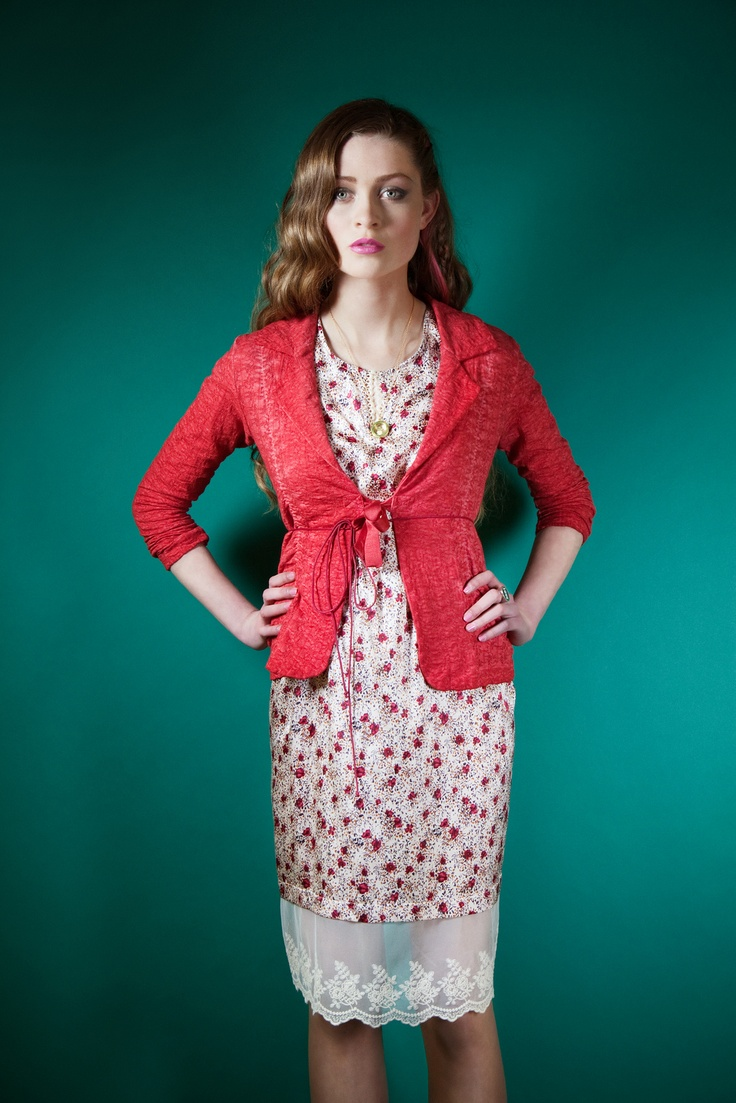 Another stunnng outfit from our Spring Summer 2013 Avoca Anthology collection.  This 3 Graces Dress with wide lace hem. Sweetie Jacket in distressed ajour cotton in colour Poppy, with cat trinket on little belt.  www.avoca.ie