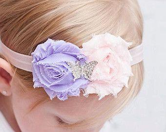 Items similar to Princess Shabby Headband, Baby headband, Shabby Chic headband,  newborn headband, flower headband,  baby girl headband on Etsy
