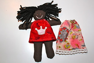 I made this doll for my sponsor child in Congo. The doll is13cm tall and 1/2cm thick - fits into a C6 envelope.
