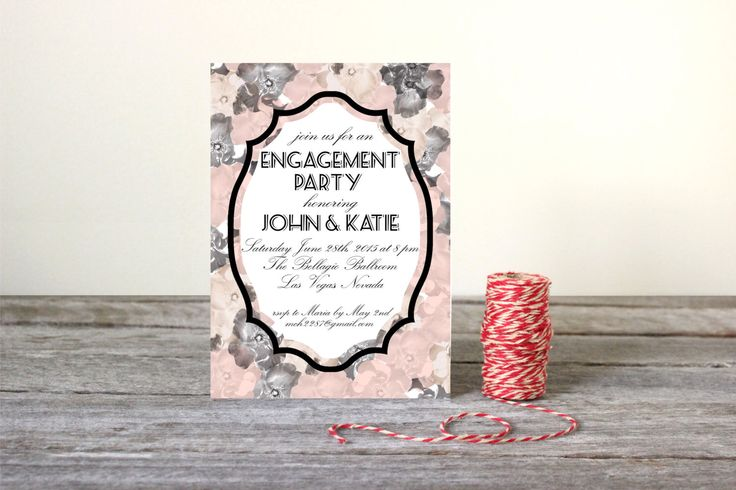 Vintage Engagement Party Invitation - Floral Pink Black and White - Printable Customized Invitation 5 x 7 by CharminglyPrinted on Etsy https://www.etsy.com/listing/217951275/vintage-engagement-party-invitation