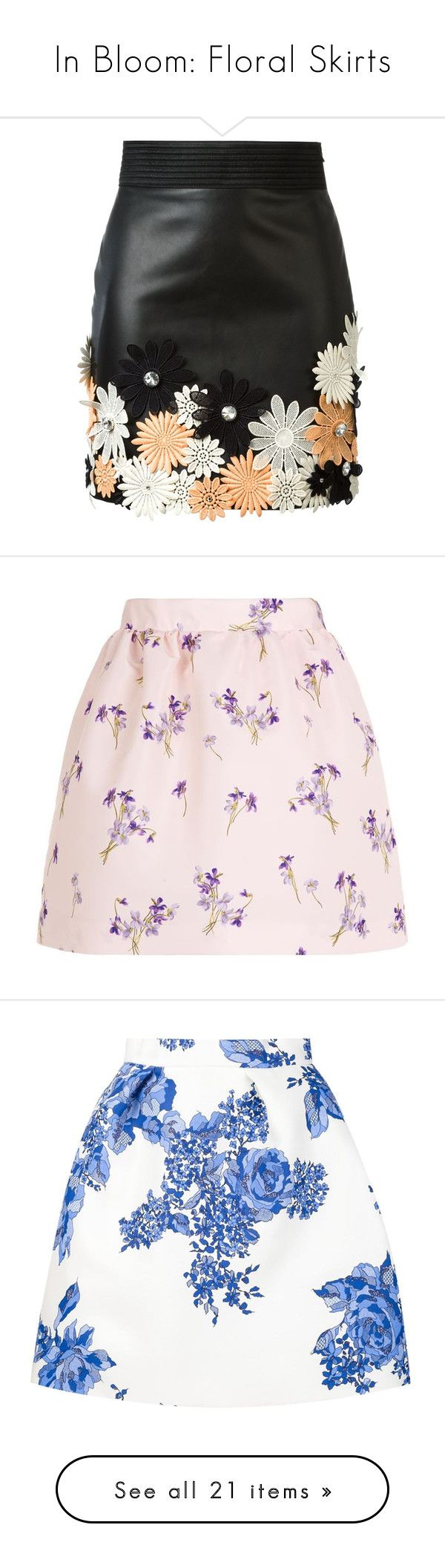 """In Bloom: Floral Skirts"" by polyvore-editorial ❤ liked on Polyvore featuring Floralskirts, INBLOOM, skirts, mini skirts, bottoms, saias, black, floral print skirt, floral skirt and multicolor skirt"