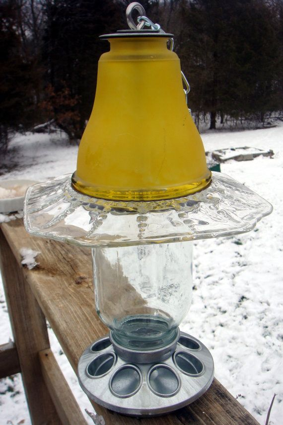 Glass Bird Feeders Vintage Glass And Ceramic By