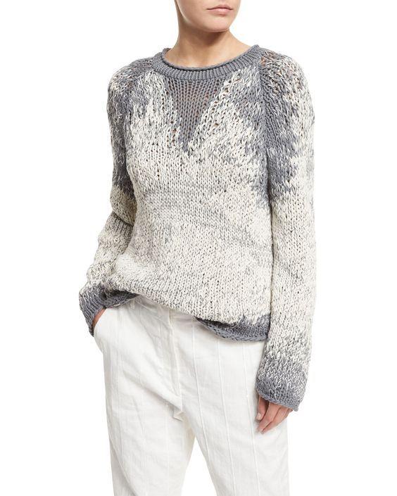 Brunello Cucinelli Long-Sleeve Degrade Pullover Sweater, Slate: