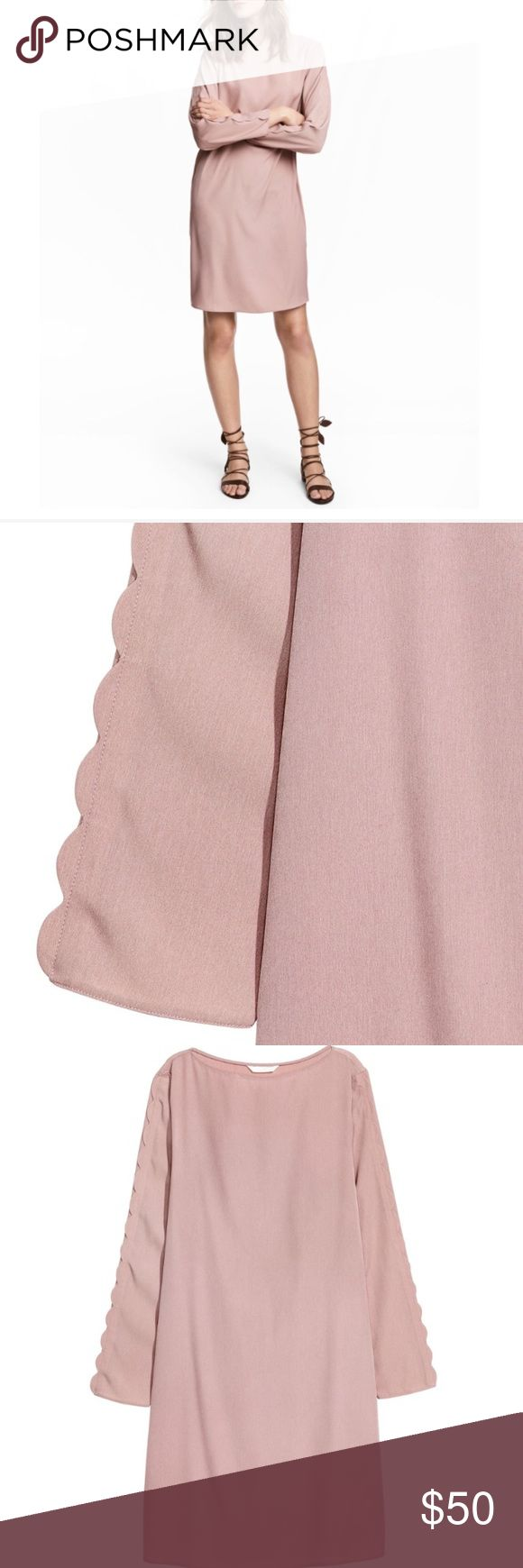 Pink Dress With Scalloped Trim Sleeves Beautiful dress never worn with tagsStraight-cut, knee-length dress in woven fabric. Long sleeves with decorative scalloped trim from shoulder to cuff. H&M Dresses Midi