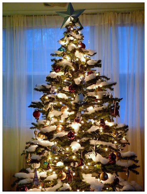 Fake snow on christmas tree tis the season pinterest