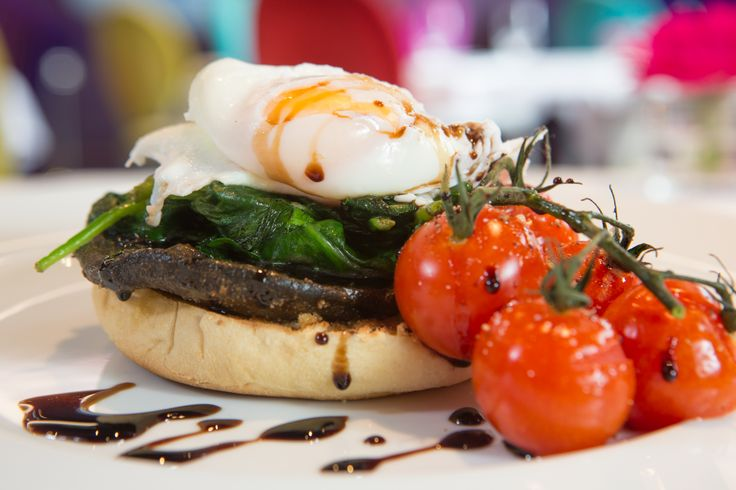 Irish Food - Two Poached Eggs, Spinach, Portobello Mushroom, Overnight Roasted Cherry Tomatoes, Breakfast Muffin, Aged Balsamic at Restaurant gigi's at The g Hotel, Galway