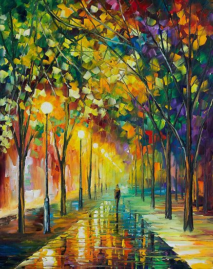 ColorfulOil Paintings, Green Dreams, Leonidafremov, Colors, Painting On Canvas, Art Oil, Originals Art, Leonid Afremov, Art Painting