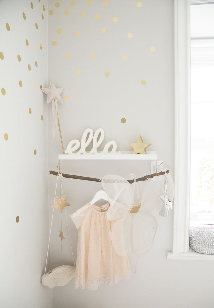 gold foil urban walls decals on wall with whimsical decor shelf