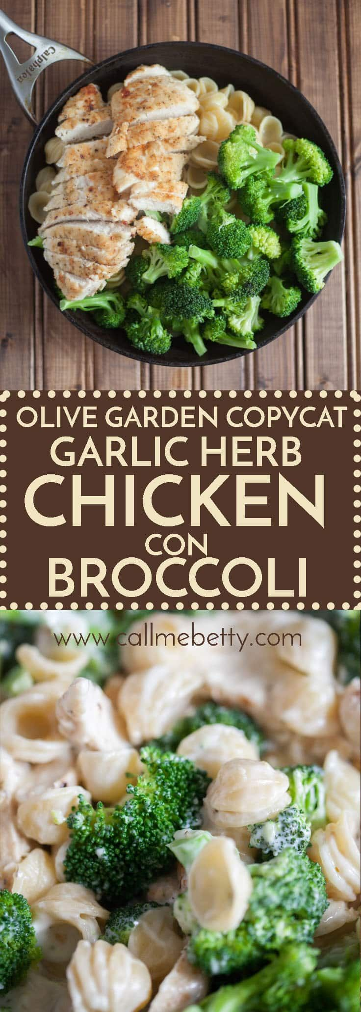 This garlic herb chicken con broccoli tastes just like the olive garden version and is easy to prepare at home.  The tasty seared and sauteed chicken breast, orechiette pasta, and garlic alfredo sauce make this decadent dish to die for.  We love this copycat dish. via @callmebettyblog