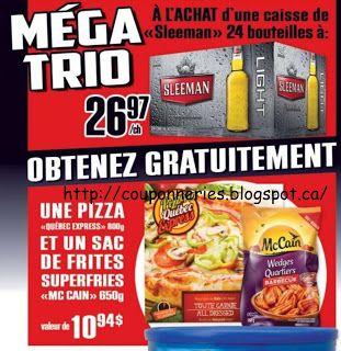 Coupons et Circulaires: 26,97$ : 24 Bières + PIZZA + FRITES GRATUITES