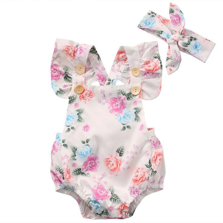 Baby Girls' Full Flower Print Buttons Ruffles Romper Bodysuit with Headband (80(6-12M), White)