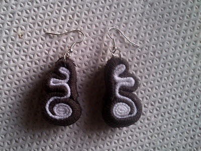 t-shirt scraps earrings (fake soutache)