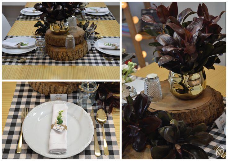 cdainspira: Mesa posta de Natal rústico - chique usando black and white e dourado