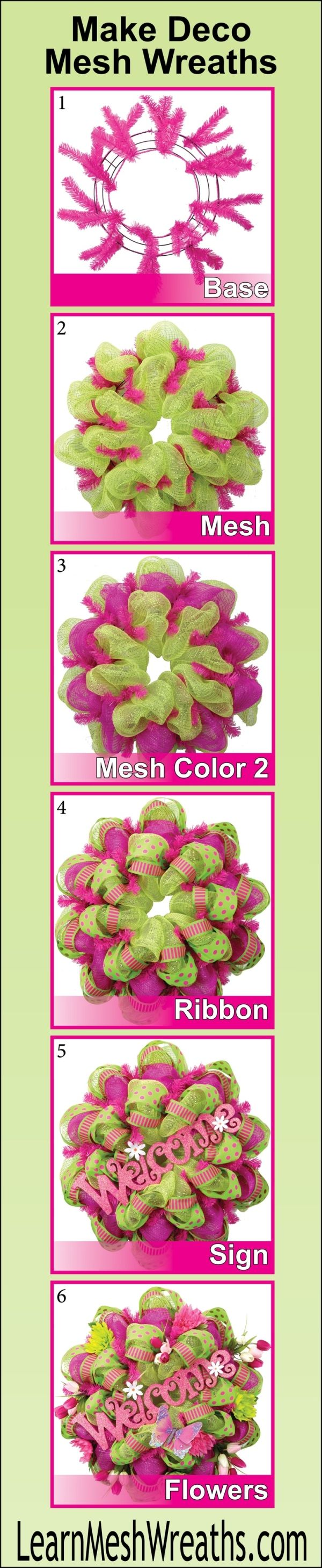 Learn step-by-step how to make beautiful mesh wreaths.