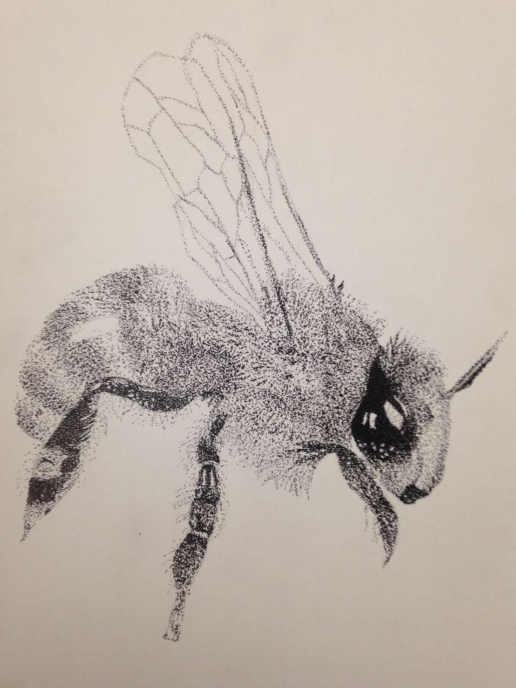 abeja, insecto, puntillismo, blanco y negro, diseño