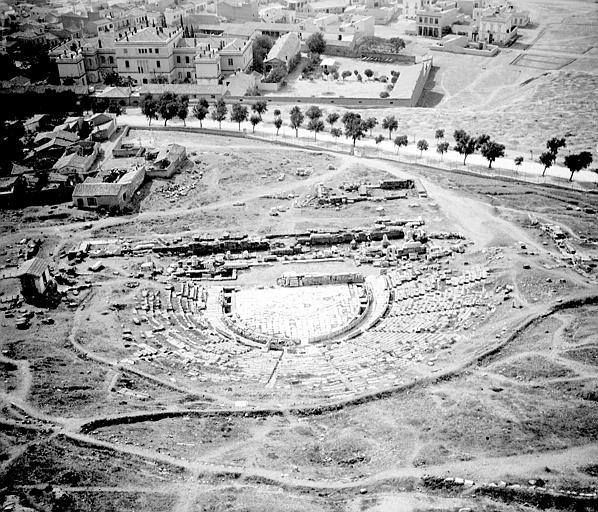 1903 ~ Aerial view of the Theatre of Dionyssus and Dionyssiou Areopagitou street, under the Acropolis