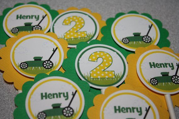 Lawn Mower Cupcake Toppers / Lawn Mower Birthday Party Toppers / Cupcake Picks /…