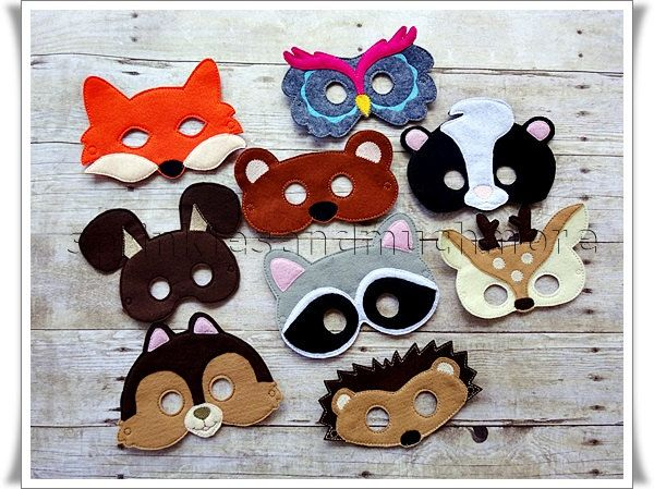 Woodland Creatures Animals, Creative Play Masks, Party Favors, Birthday, Halloween Masks, Fairy Garden Party--Set of all 9-- FREE SHIPPING - pinned by pin4etsy.com