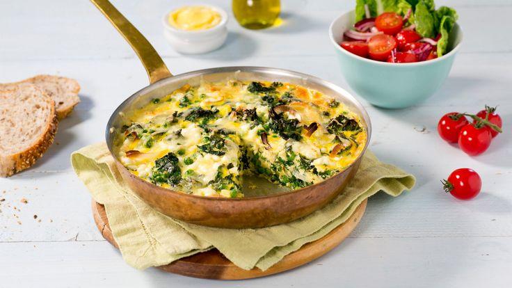 Oppskrift på Ovnsbakt omelett med grønnkål og spinat