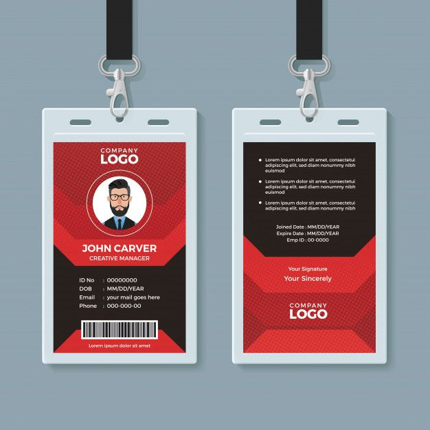 Modern Red And Black Id Card Template Id Card Template Identity Card Design Card Template