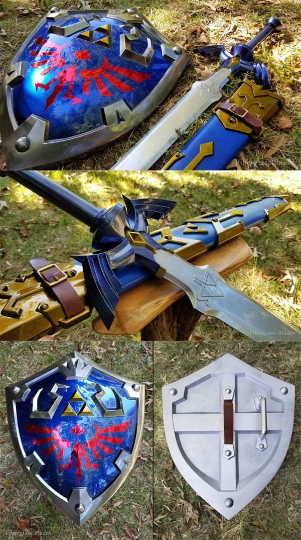 Incredible props for the legend of zelda. master sword and hylian shield in incredible detail