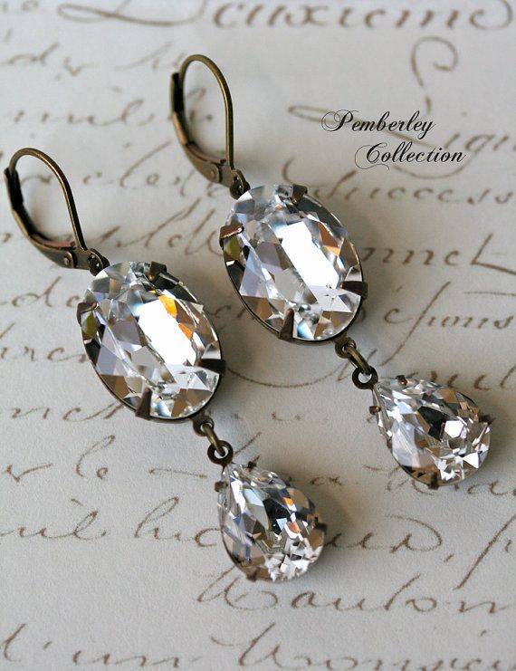 Bridal Swarovski Crystal Earrings by PemberleyCollection, $34.00