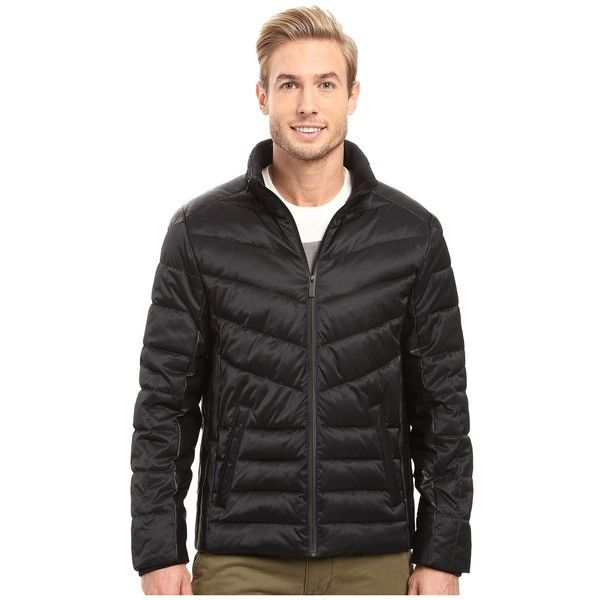 Calvin Klein Micro Texture Puffer Jacket (Black) Men's Coat ($124) ❤ liked on Polyvore featuring men's fashion, men's clothing, men's outerwear, men's jackets, mens sports jacket, mens puffy jacket, mens jackets and mens sport jackets