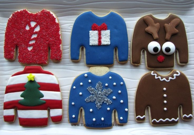 """Love these """"ugly sweater"""" cookies by www.TaylorMadeTreats.com! Needing ideas for a FUN Ugly Christmas Sweater Party check out """"The How to Party In An Ugly Christmas Sweater"""" at Amazon.com"""