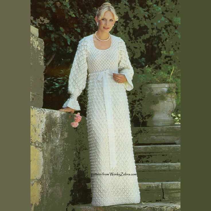 WZ188 A vintage seventies knitted wedding dress pattern. Knitted in an intricate textured stitch with gathered long sleeves sand empire line bodice.