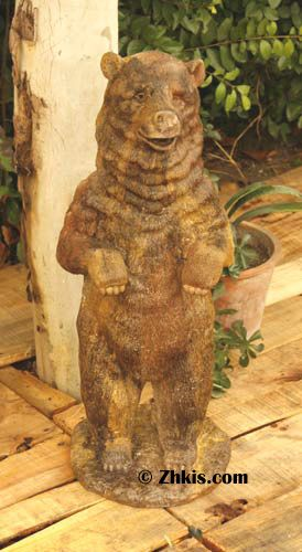 Standing Outdoor Bear Statue - Outdoor grizzly bear statue. A beautiful piece for a patio or porch. Would also make a nice piece for a cabin or country retreat made of both fiber stone and fiberglass several finishes to choose from