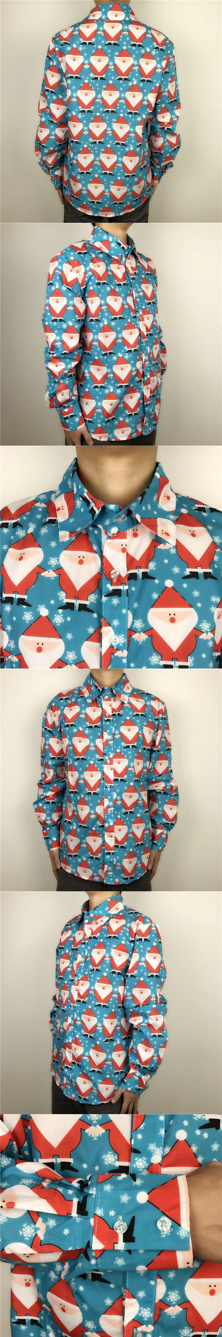 Stand Out Long Sleeve Ugly Christmas Shirt for Men Cool Santa Claus Patterned Xmas Party Shirt Light Blue Plus Size M-2XL