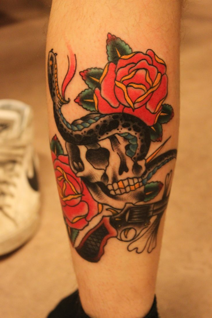 Snake skull n gun tattoo ideass design http tattoosaddict com