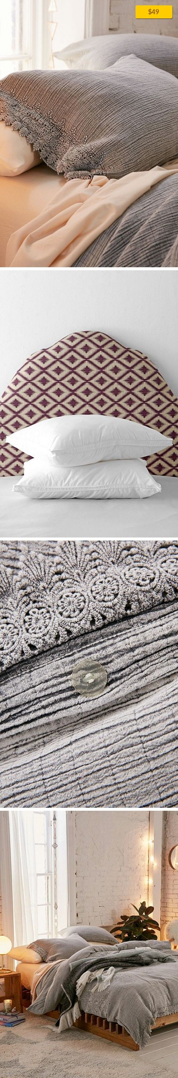 """Cassia Embroidered Sham Set Apartment, Bedding, Pillowcases + Shams   Set of 2 pillow shams made from gauzy cotton + complete with a lace-inspired trim we love. Perfect for an update to any bedding! Content + Care - Set of 2 - Cotton - Machine wash - Imported Size - Dimensions: 21""""l x 27""""w"""