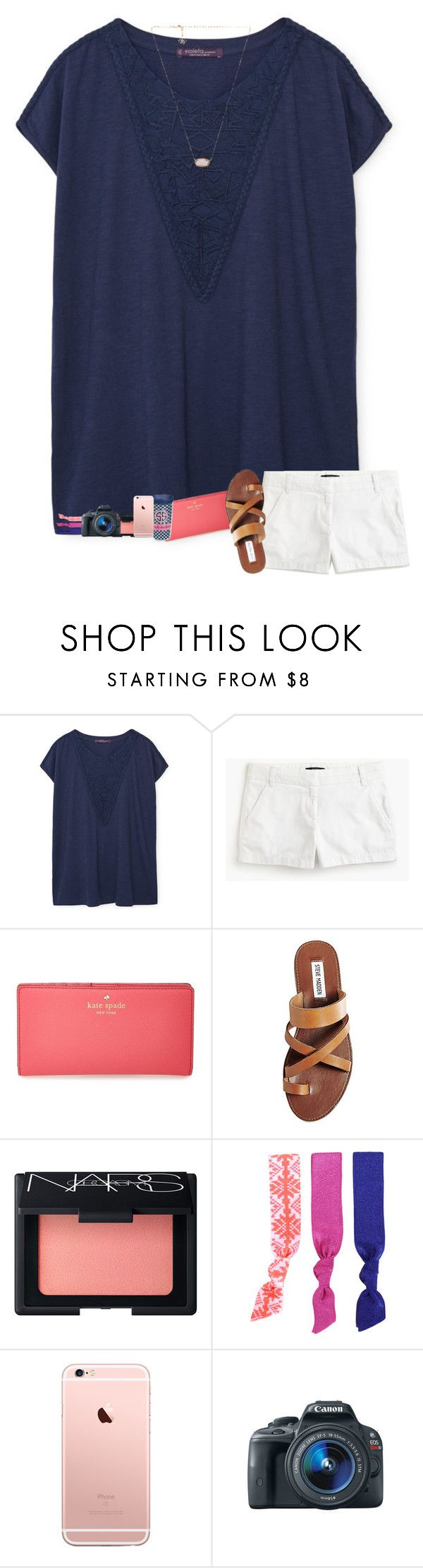 """First xc meet tomorrow!"" by sanddollars ❤ liked on Polyvore featuring Violeta by Mango, J.Crew, Kate Spade, Steve Madden, NARS Cosmetics, Tervis, Splendid, Eos and Kendra Scott"