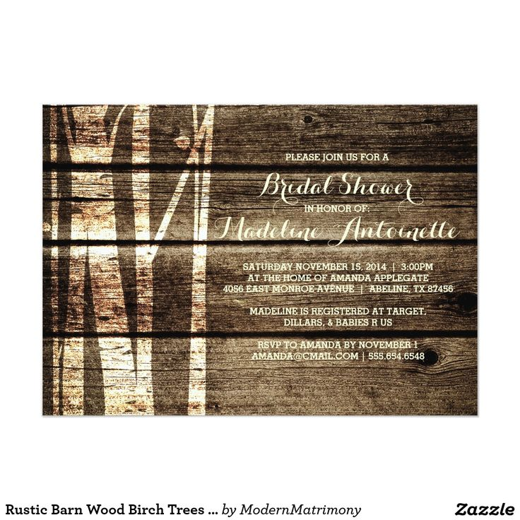 free bridal shower advice card template%0A Rustic Barn Wood Birch Trees Winter Bridal Shower Card