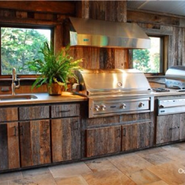 Outdoor kitchen with barn wood outdoor kitchen and patio for Outdoor kitchen cabinets