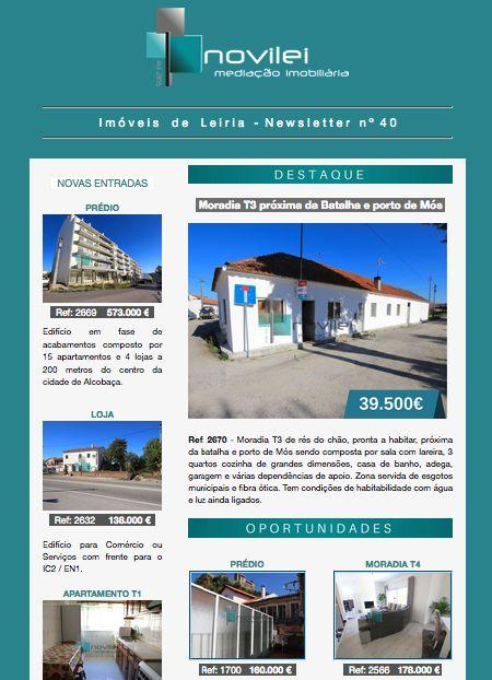 Newsletter nº 40 do dia 09 de Novembro - Imóveis de Leiria.  #leiria #novilei #blog #newsletter #imoveis #imobiliaria #realestate