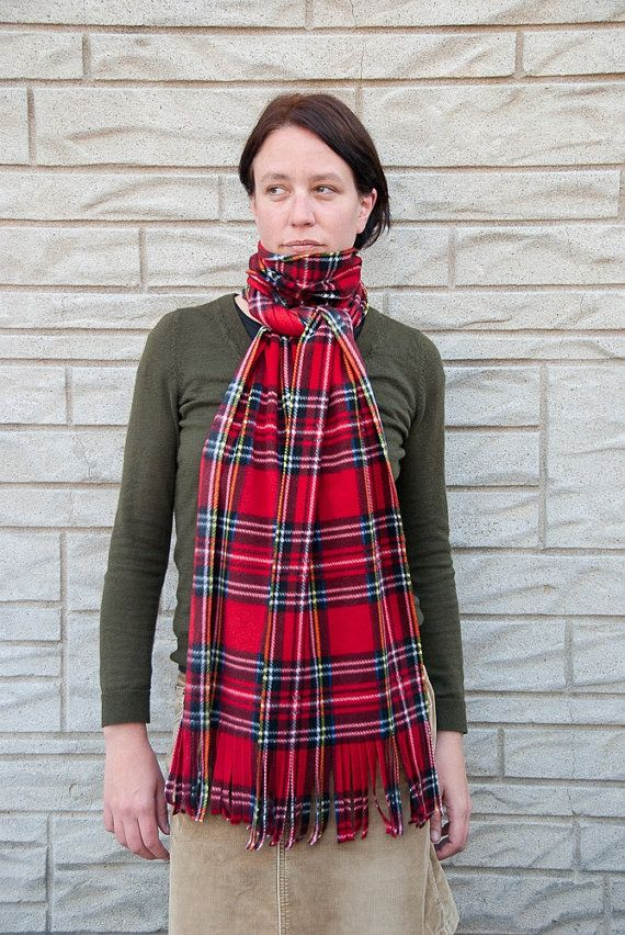 Red Plaid Fleece Scarf Extra Long Oversized Red Tartan Winter Scarf by brefney