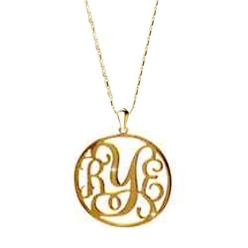 Monogram Necklace 18 K Gold Plated 925  Sterling Silver Custom Made Necklace Pugster.com