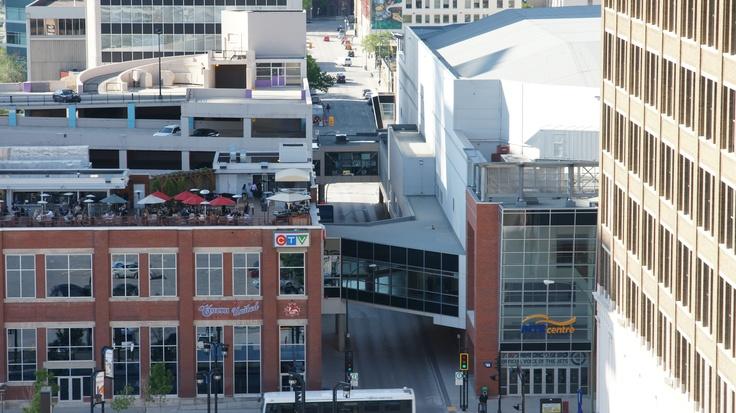 View from Delta Winnipeg: CTV Winnipeg and MTS Centre looking down Hargrave  #Winnipeg