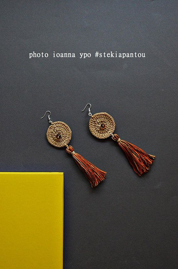long dangle earrings boho tassel earrings colorful bohemian #stekiapantou #ioannaypo #thessaloniki #greece #crochet #circle #boho #bohemian #daangleearrings #hippieearrings #ethnicearrings #tasseljewelry #statementearrings #summerjewelry