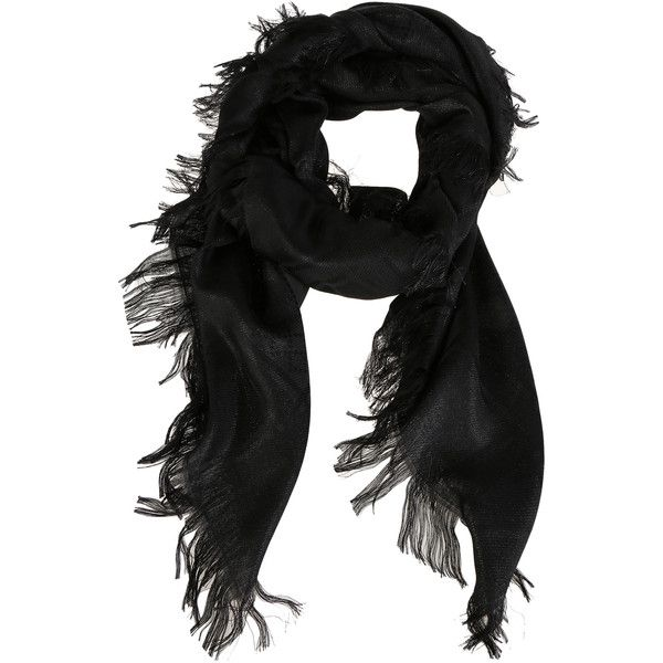 Gucci Scarves & Wraps ($275) ❤ liked on Polyvore featuring accessories, scarves, black scarves, wrap shawl, gucci shawl, wrap scarves and black shawl