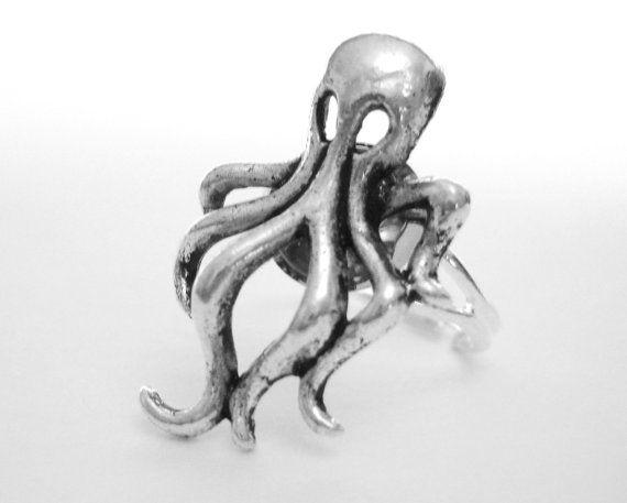 Octopus argent anneau - tentacule poulpe bijoux - nautique bague Steampunk…