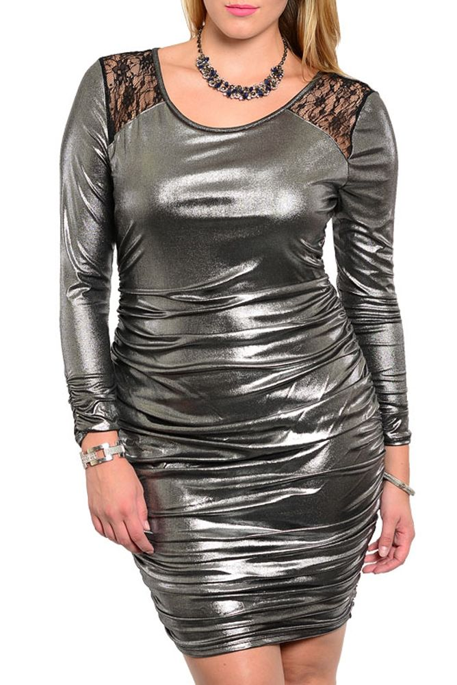 DHStyles Women's Gray Plus Size Trendy Metallic Cinched Open Back Lace Overlay Dress - 1X #sexytops #clubclothes #sexydresses #fashionablesexydress #sexyshirts #sexyclothes #cocktaildresses #clubwear #cheapsexydresses #clubdresses #cheaptops #partytops #partydress #haltertops #cocktaildresses #partydresses #minidress #nightclubclothes #hotfashion #juniorsclothing #cocktaildress #glamclothing #sexytop #womensclothes #clubbingclothes #juniorsclothes #juniorclothes #trendyclothing #minidresses…