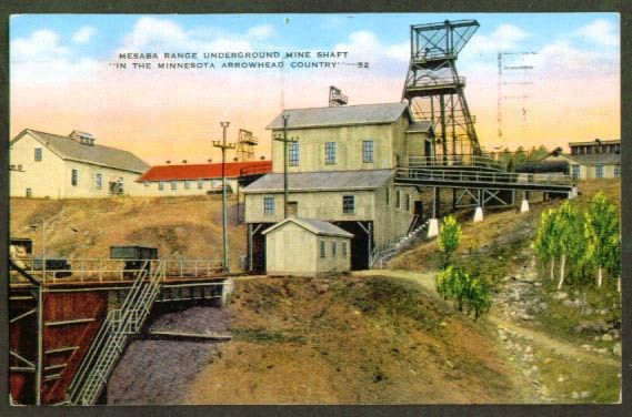 Iron Mine Mesaba Range MN postcard 1950